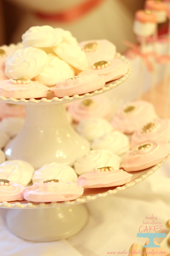 pink and gold meringues
