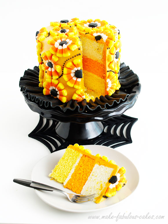 candy corn cake and piece