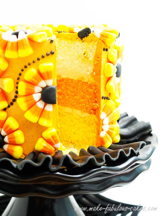 candy corn cake sliced
