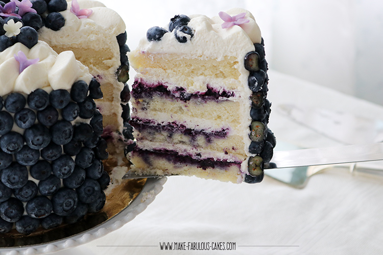 A slice of Blueberry Cream Cake