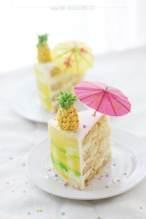 Piña Colada Cake  with Buttercream Pineapples