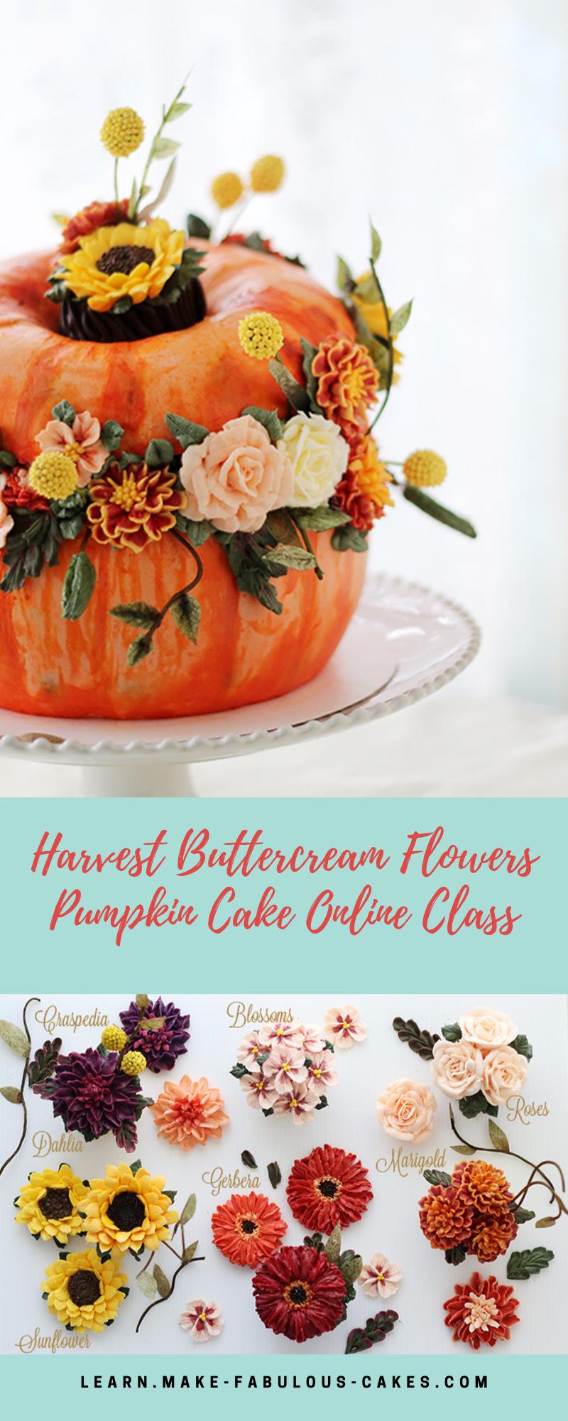 Harvest Buttercream Flowers Pumpkin Cake Online Class