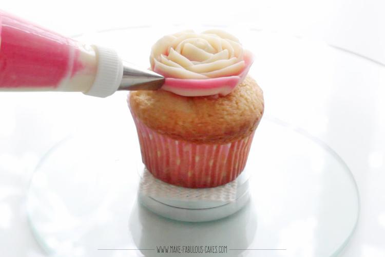 Piping a buttercream rose cupcake