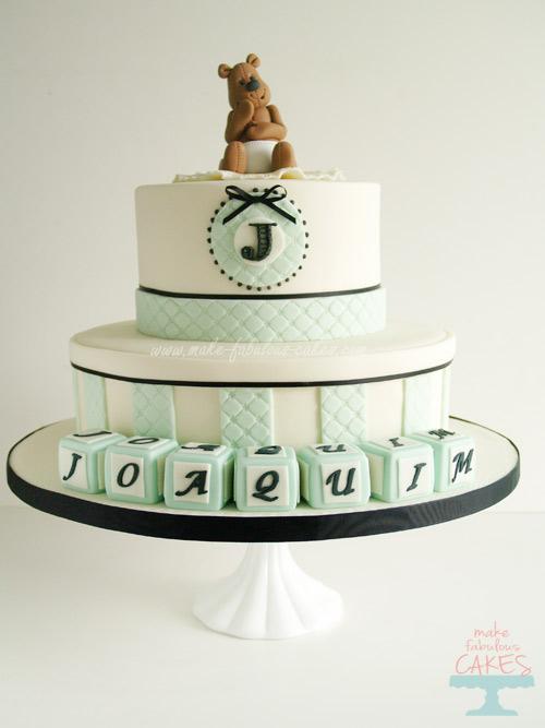 Baby boy baptism cake