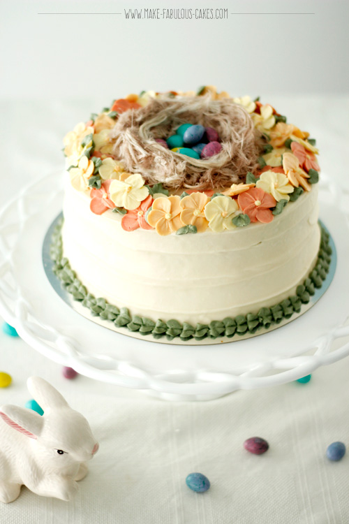 Easter Cake Buttercream Blossoms and Birds Nest