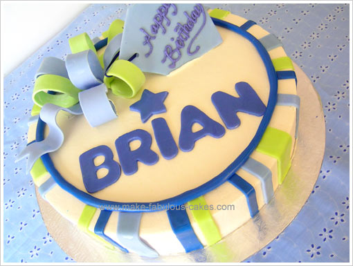 Cake Decoration For Birthday : Birthday Cake Decorating : Stripes and Bow