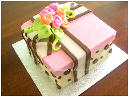 Birthday cake idea a floral gift box cake flower gift box cake negle Images