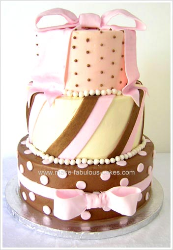 Pink and brown bridal shower cake
