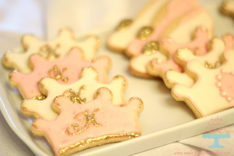 Pink and gold crown cookies