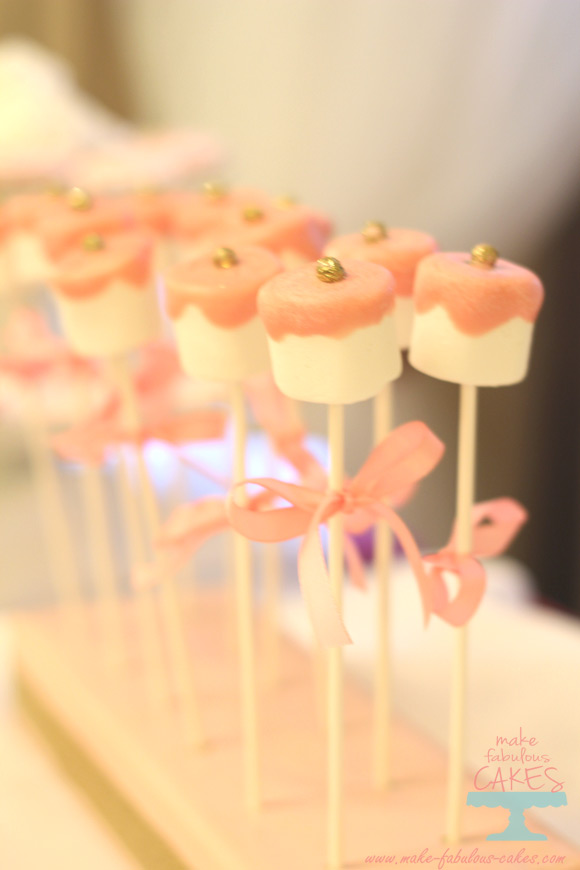pink and gold marshmallow pops