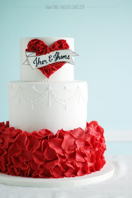Red Vintage Wedding Cake