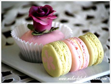 rose cupcakes, macarons