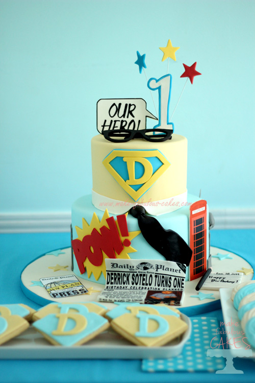 Superman Cake for Clark Kent 1st birthday party