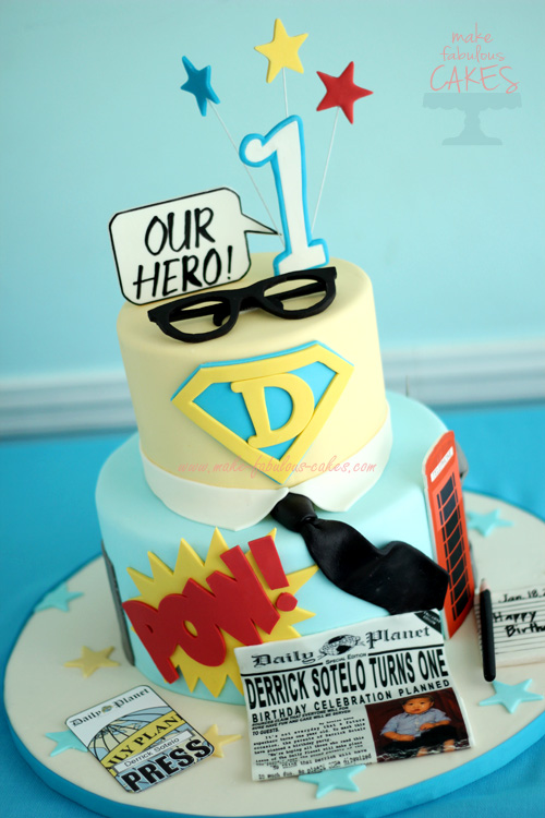 Tremendous Superman Cake For A Clark Kent Birthday Party Birthday Cards Printable Giouspongecafe Filternl