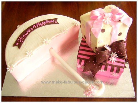 Here is a cute idea for a bridal shower cake an umbrella cake to represent