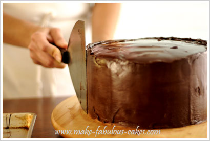 chocolate ganache on cake