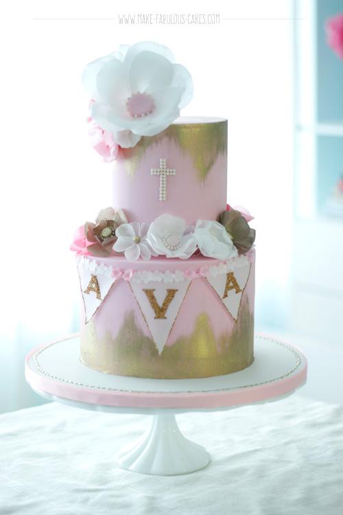 baptism cake, wafer paper flowers