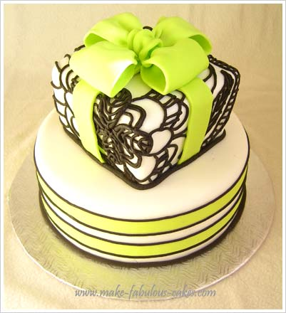 green and black bridal shower cake