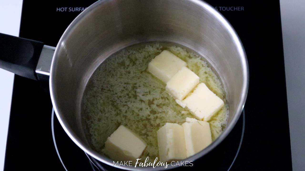 black cocoa frosting : melt butter