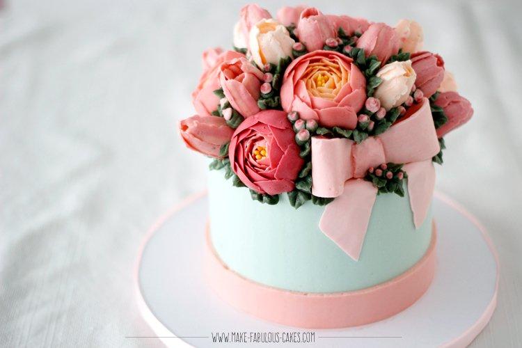 buttercream flowers gift box cake
