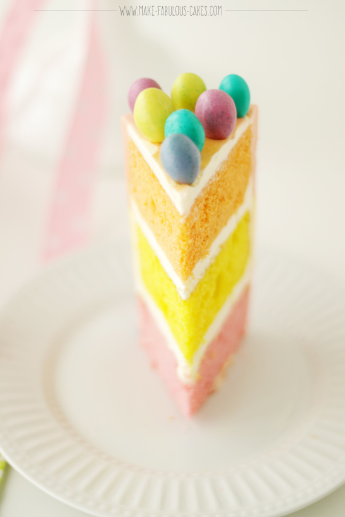 Easter Cake with Marshmallow Bunny Tri-coloured cake