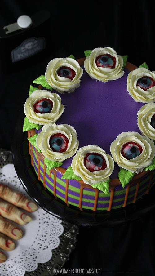 Halloween Eyeball Flower Cake
