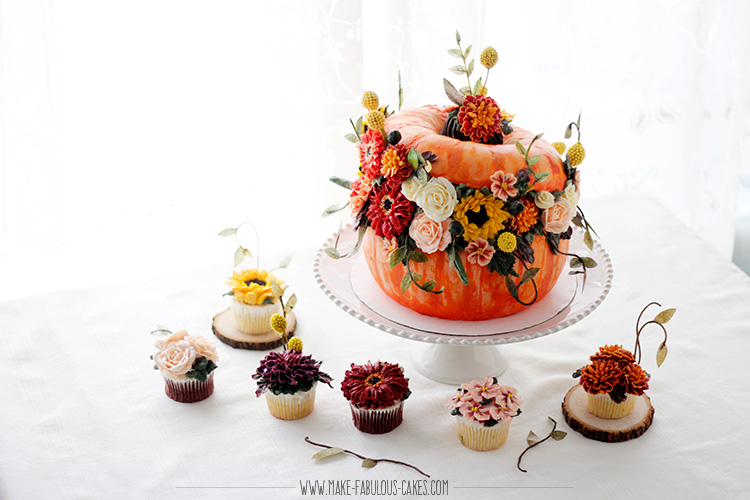 Harvest Buttercream Flowers Pumpkin Cake with cupcakes