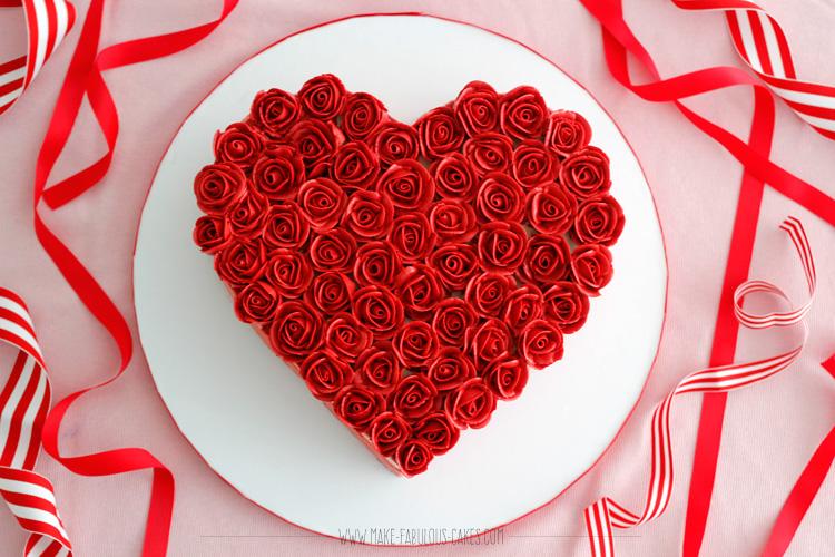 heart rose cake
