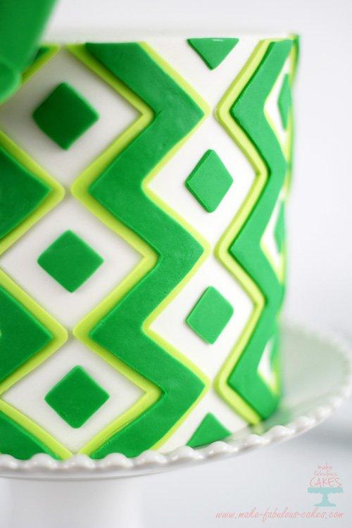 Chevron and Diamonds cake pattern