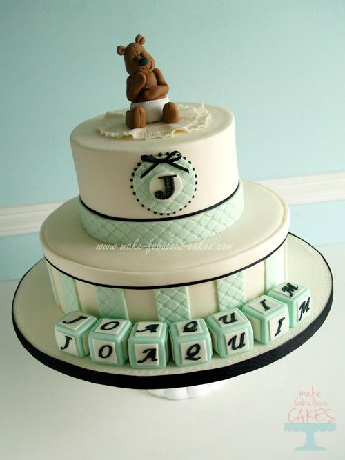 Baby Bow Baptism Cake