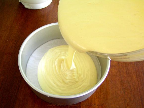 chiffon cake pour into pan
