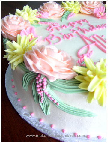 flower birthday cake detail