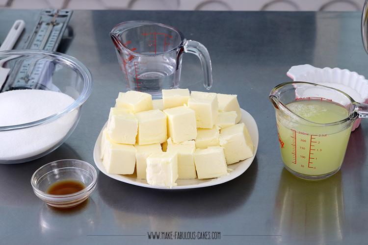 Italian Meringue Buttercream ingredients