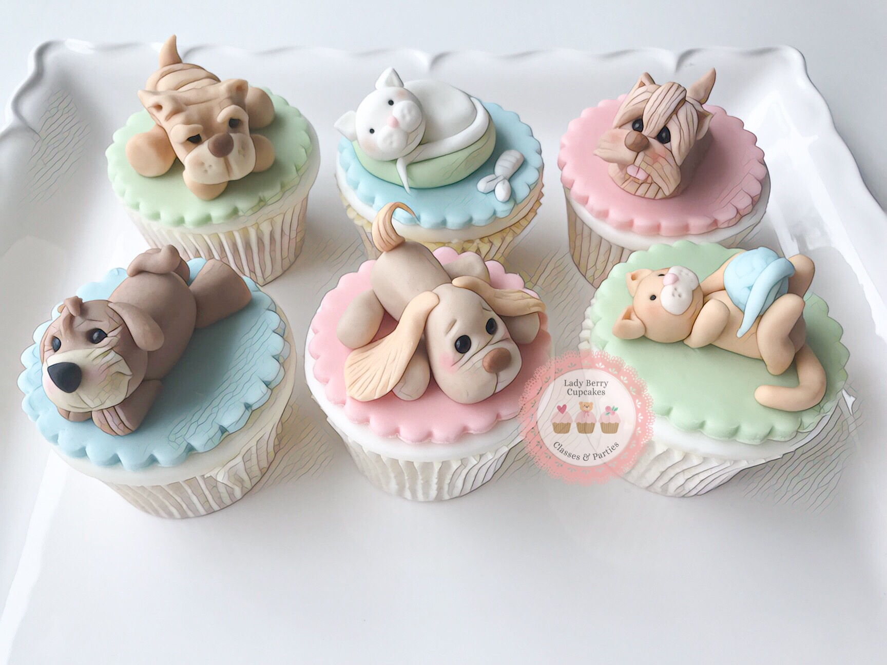 puppy cupcakes and kitty cupcakes