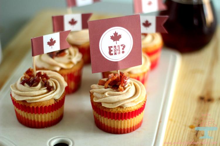 Maple Bacon Cupcakes Canada Day