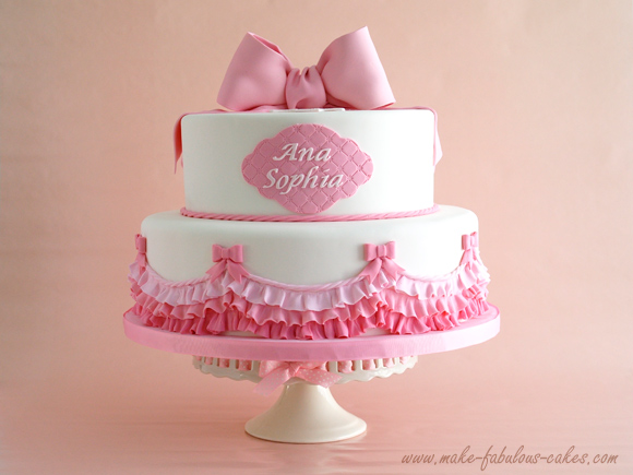 Pink Ombre Ruffles Cake