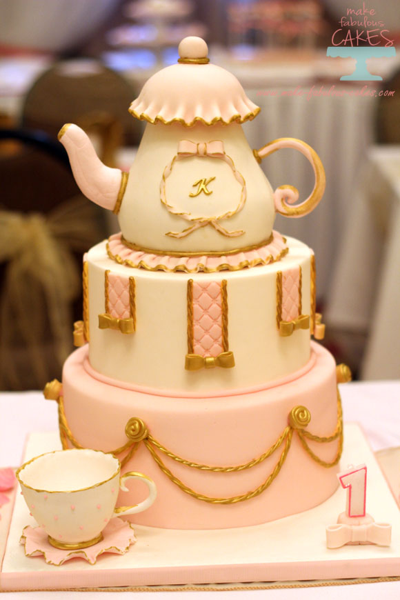 Pink and Gold Tea Party cake