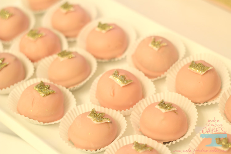 pink and gold petit fours