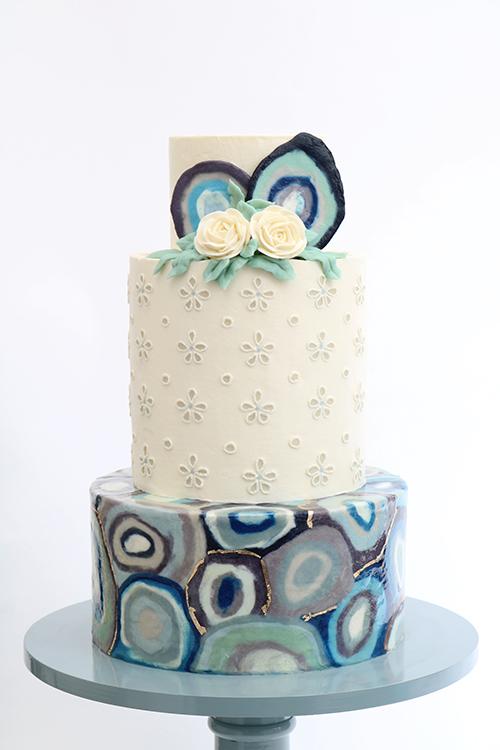 Queen of Hearts Custom Cake  Agate Buttercream Cake