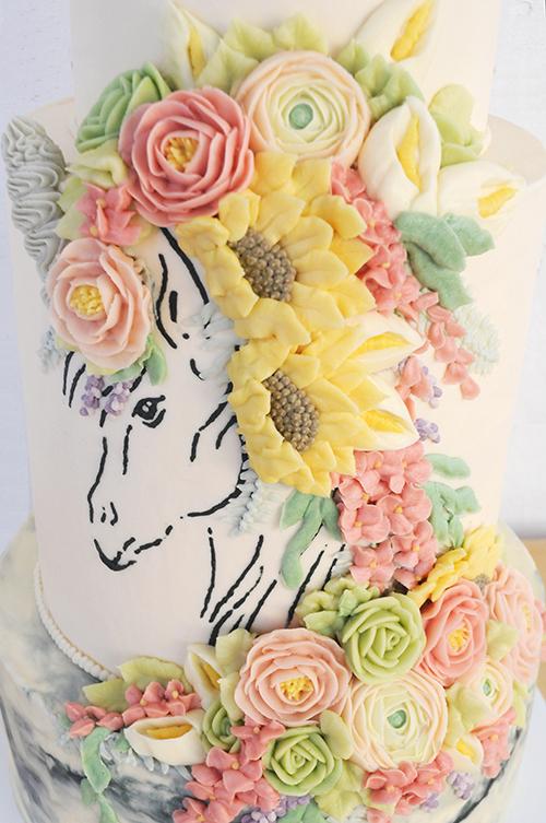 Queen of Hearts Custom Cake  Unicorn Flowers Buttercream Cake